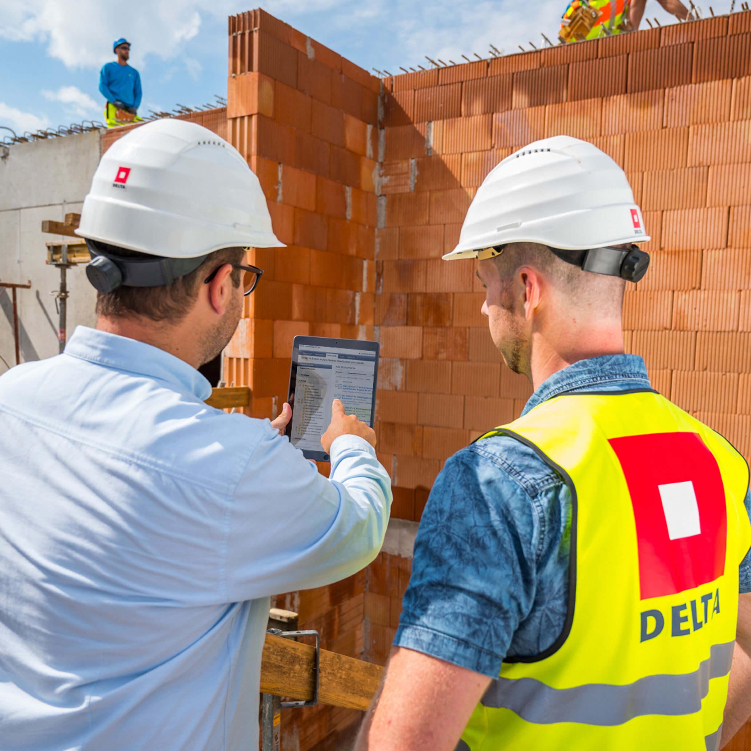 Baustelle-Datenpool auf Tablet